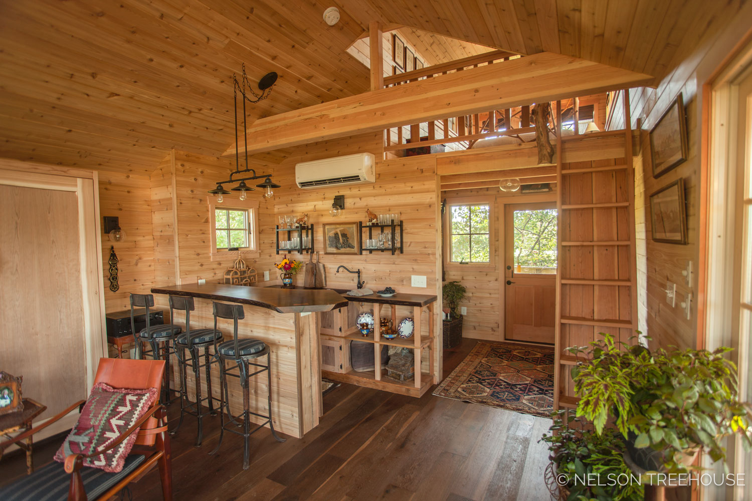 COMPLETED INTERIOR OF THE FOX FARM TREEHOUSE