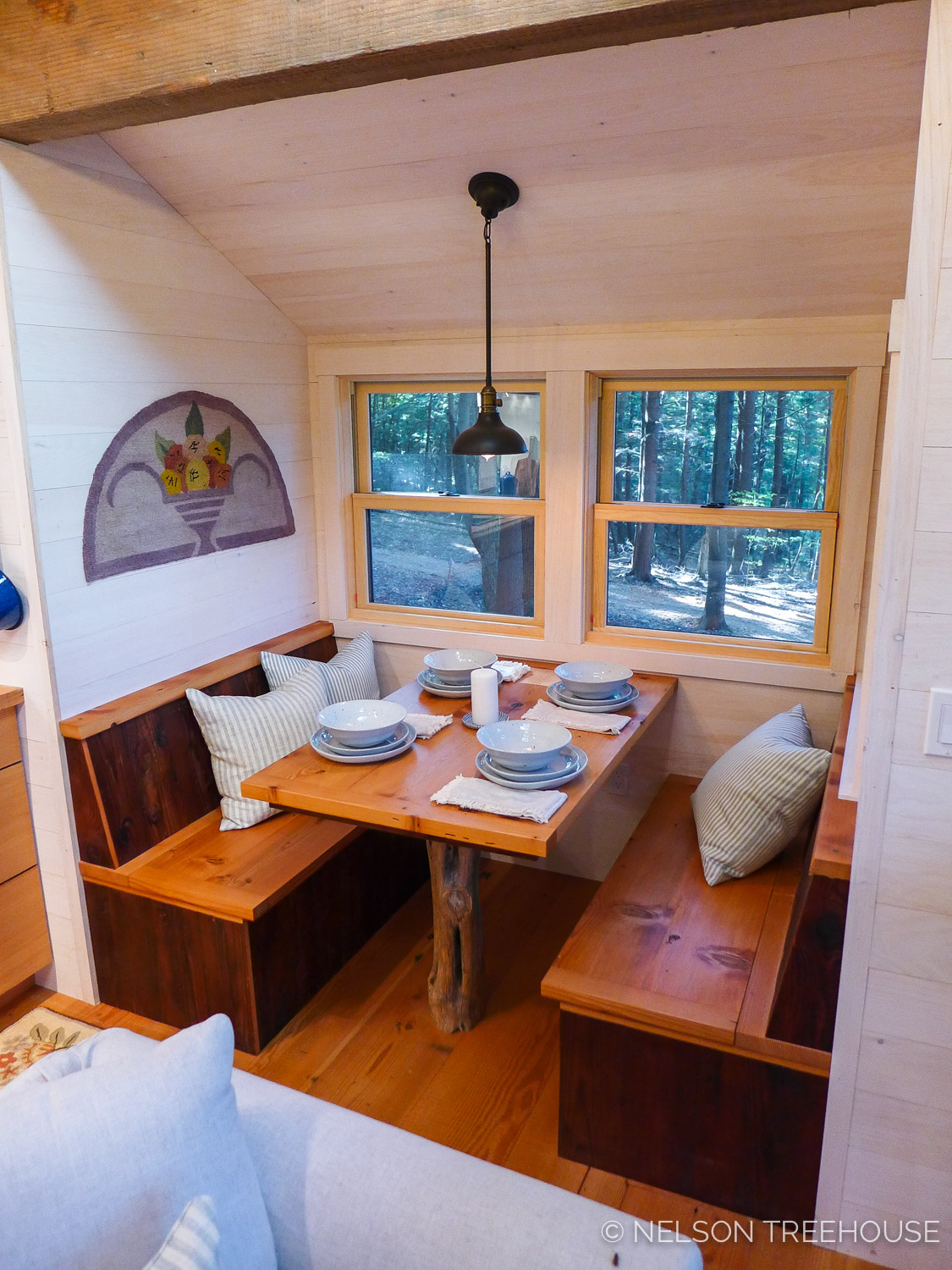 Finished built-in dining nook in the Magical Maine Treehouse