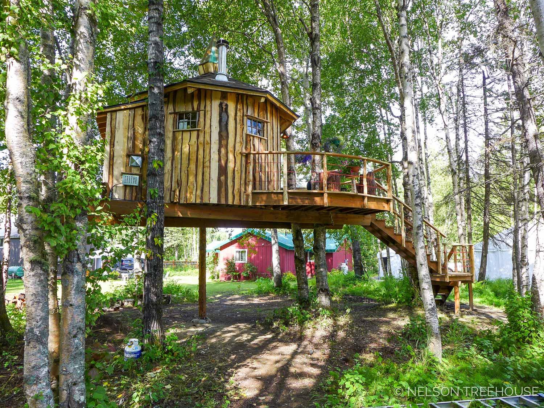 Alaskan Sauna Hut integration with forest - Nelson Treehouse