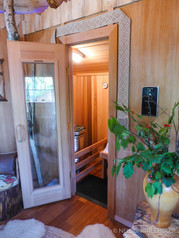 Alaskan Sauna Hut - Door to Sauna - Nelson Treehouse