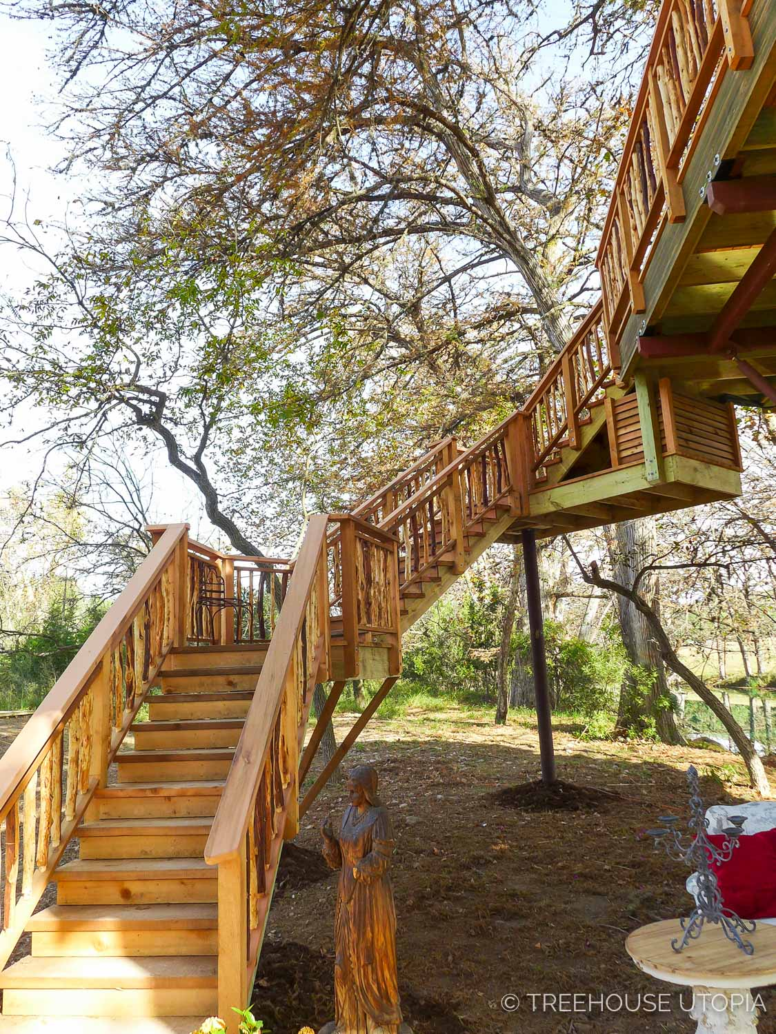 staircase to Chapelle at Treehouse Utopia, a Texas Hill Country Retreat. Photo by Nelson Treehouse.