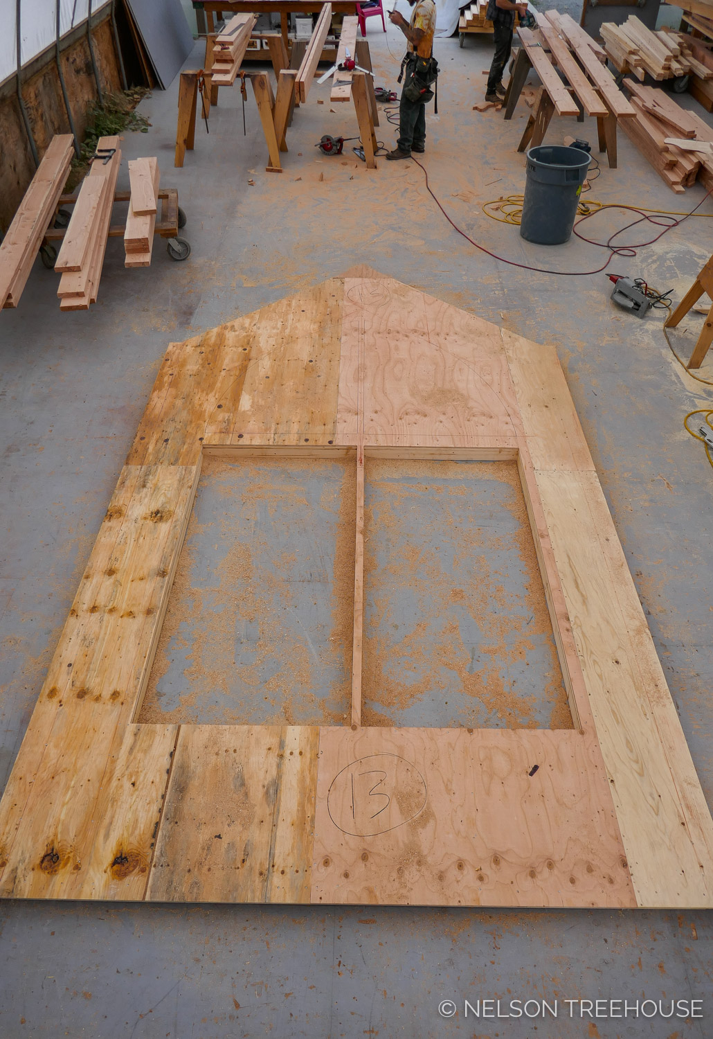 Nelson Treehouse Prefab for Treehouse Utopia - framing for arched window set