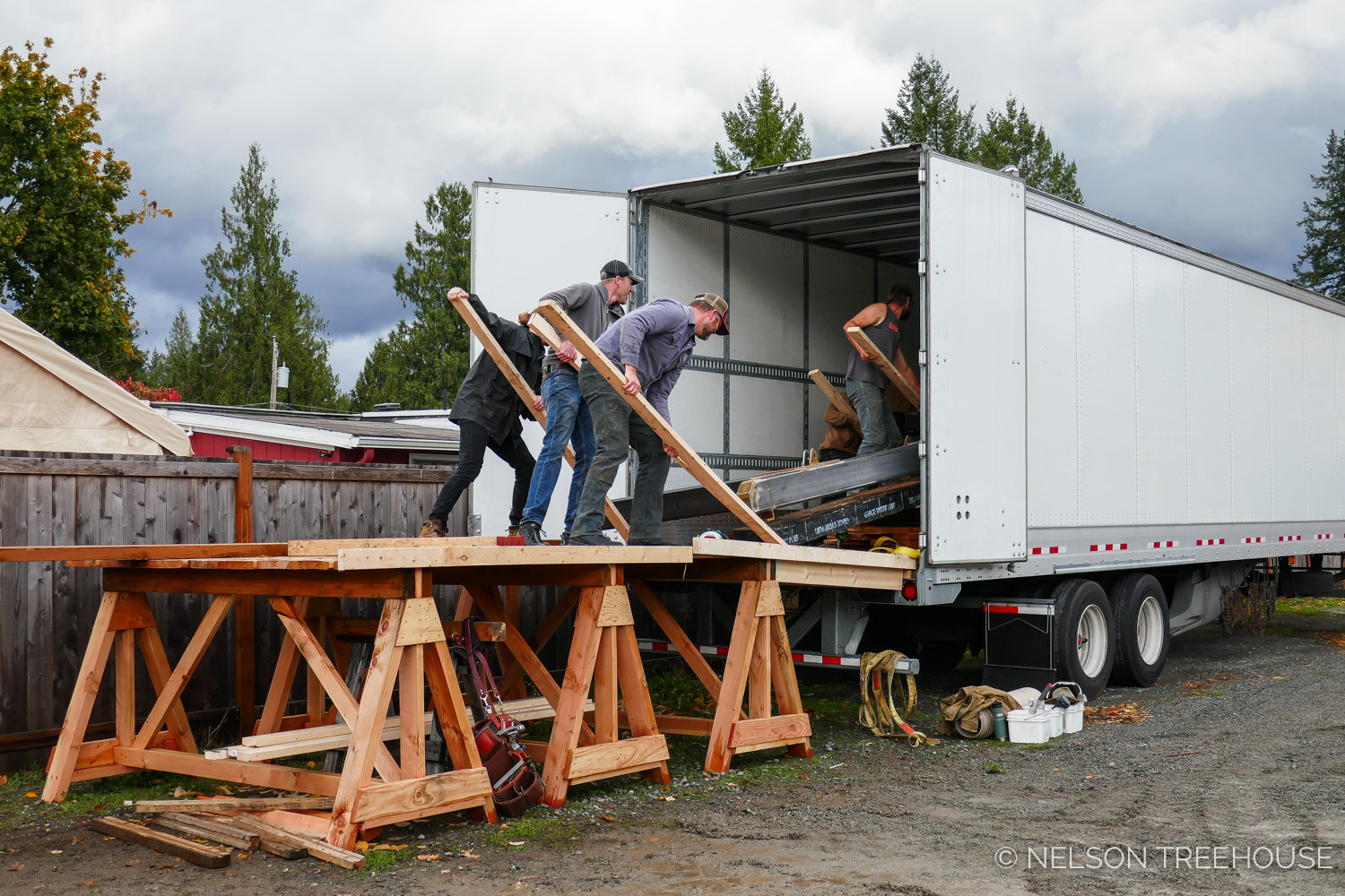Nelson Treehouse Prefab for Treehouse Utopia - using 2x4's to load metal into truck