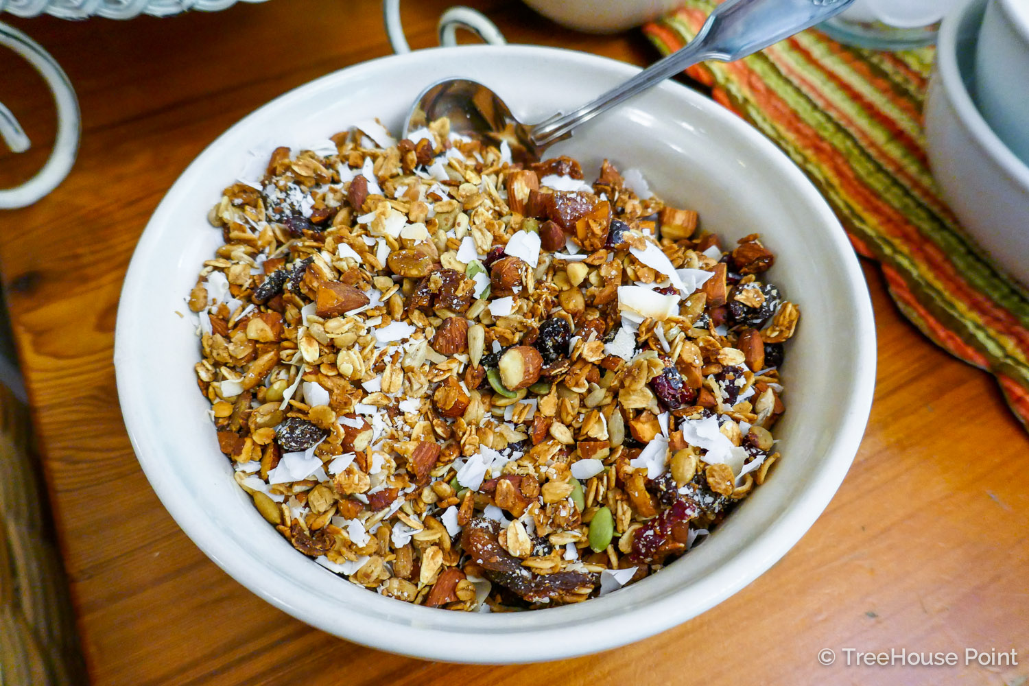 Judy Nelson's famous granola is a daily Delicacy at Treehouse Point's breakfasts.