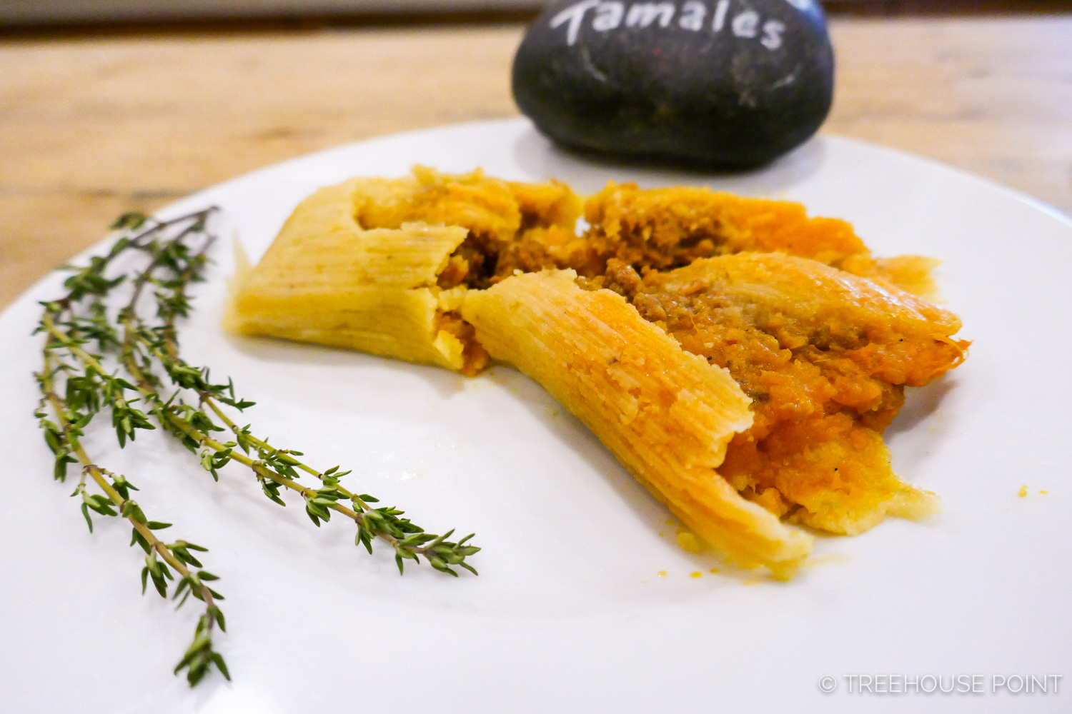 The breakfast cooks at TreeHouse Point create delectable and seasonal dishes, like these  winter squash tamales.