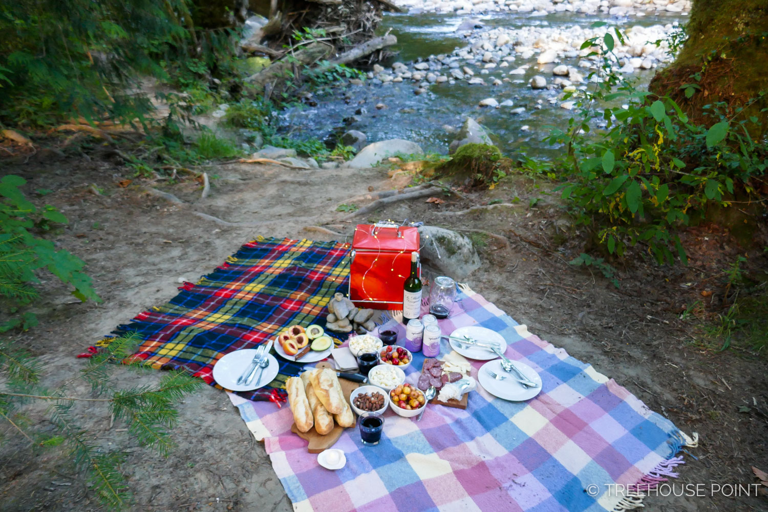 Picnicking on the bank of the Raging River is a wonderful dinner option during summer months.