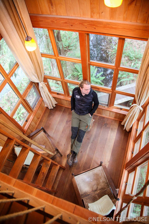 Garrett inside the Trillium at TreeHouse Point