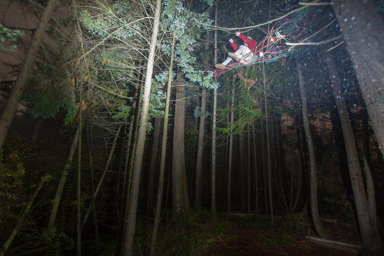 "Garrett Wove this rope ""Spiderweb"" in the woods near his Childhood home."