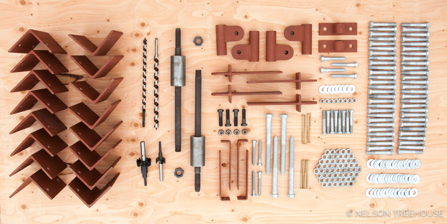 We have all the   hardware   you need for each treehouse plan.