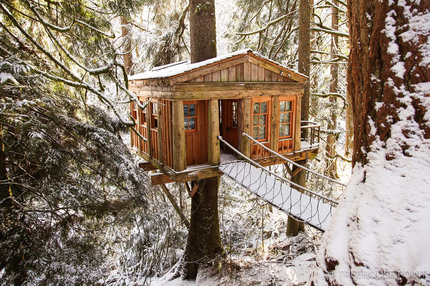 The Temple of the Blue Moon at TreeHouse Point with a dusting of snow