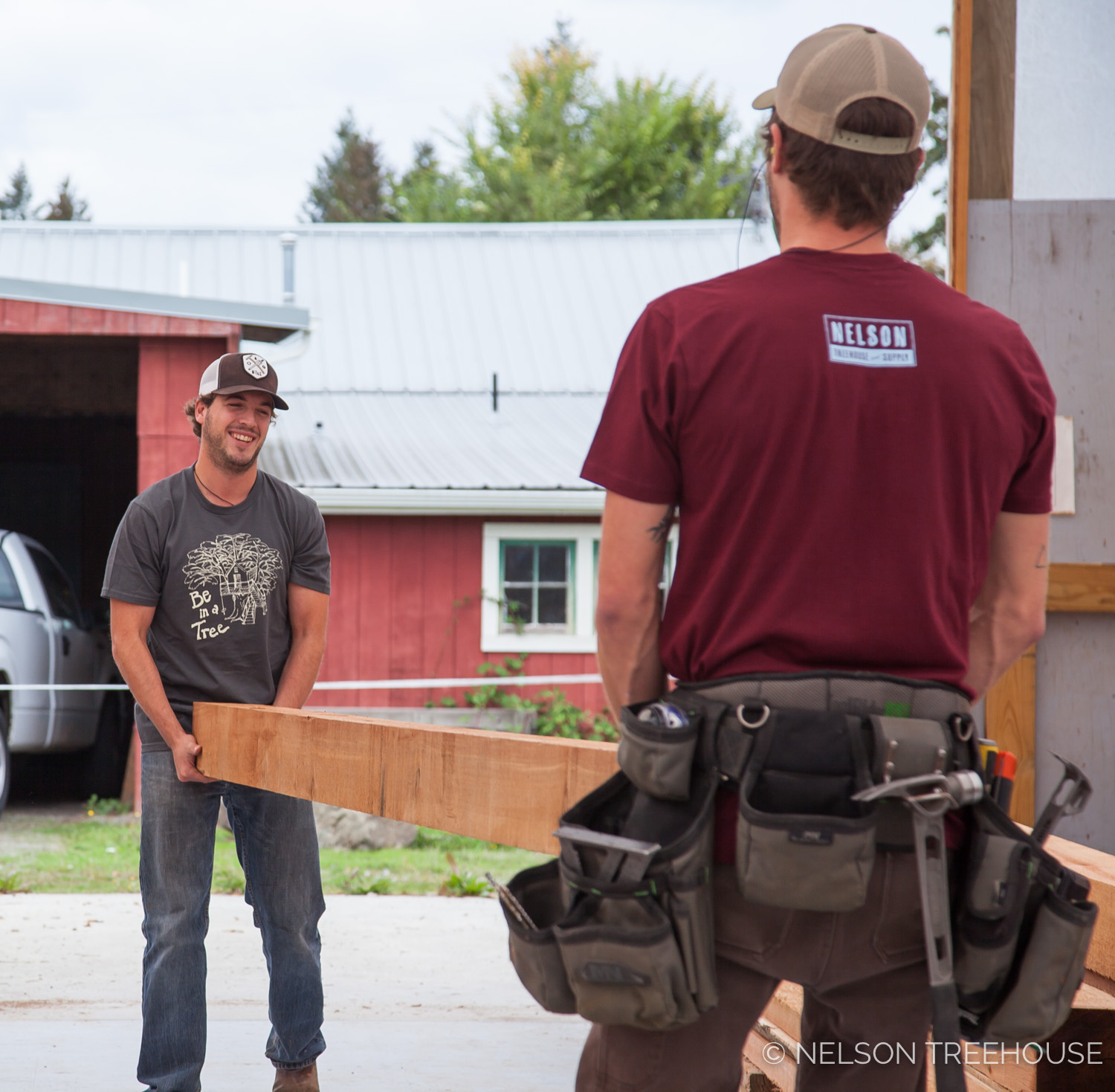 Jake and Henry move beams around the prefab shop in style. Specifically, in our   Be in a Tree T-shirts  , printed by Sanctuary.