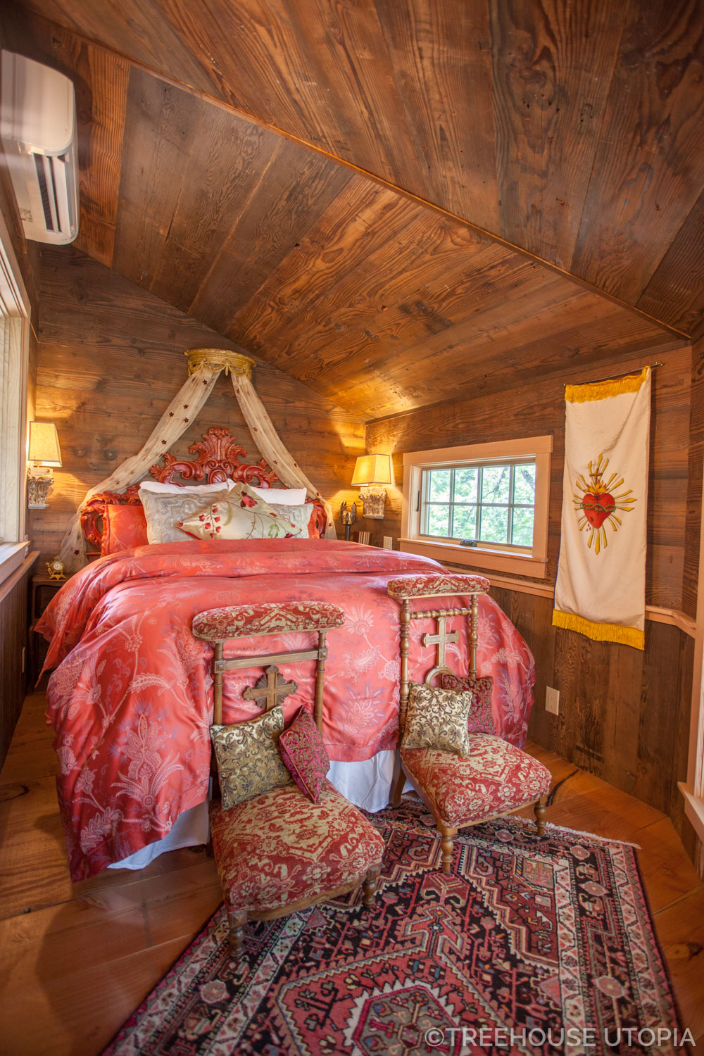 Bedroom inside Chapelle at Treehouse Utopia, a Texas Hill Country Retreat. Photo by Nelson Treehouse.