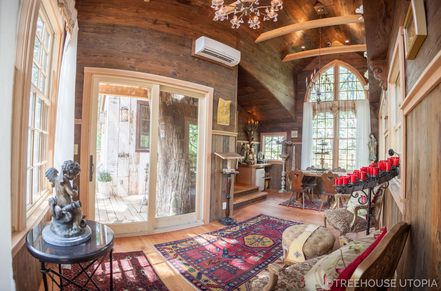Inside Chapelle at Treehouse Utopia, a Texas Hill Country Retreat. Photo by Nelson Treehouse.