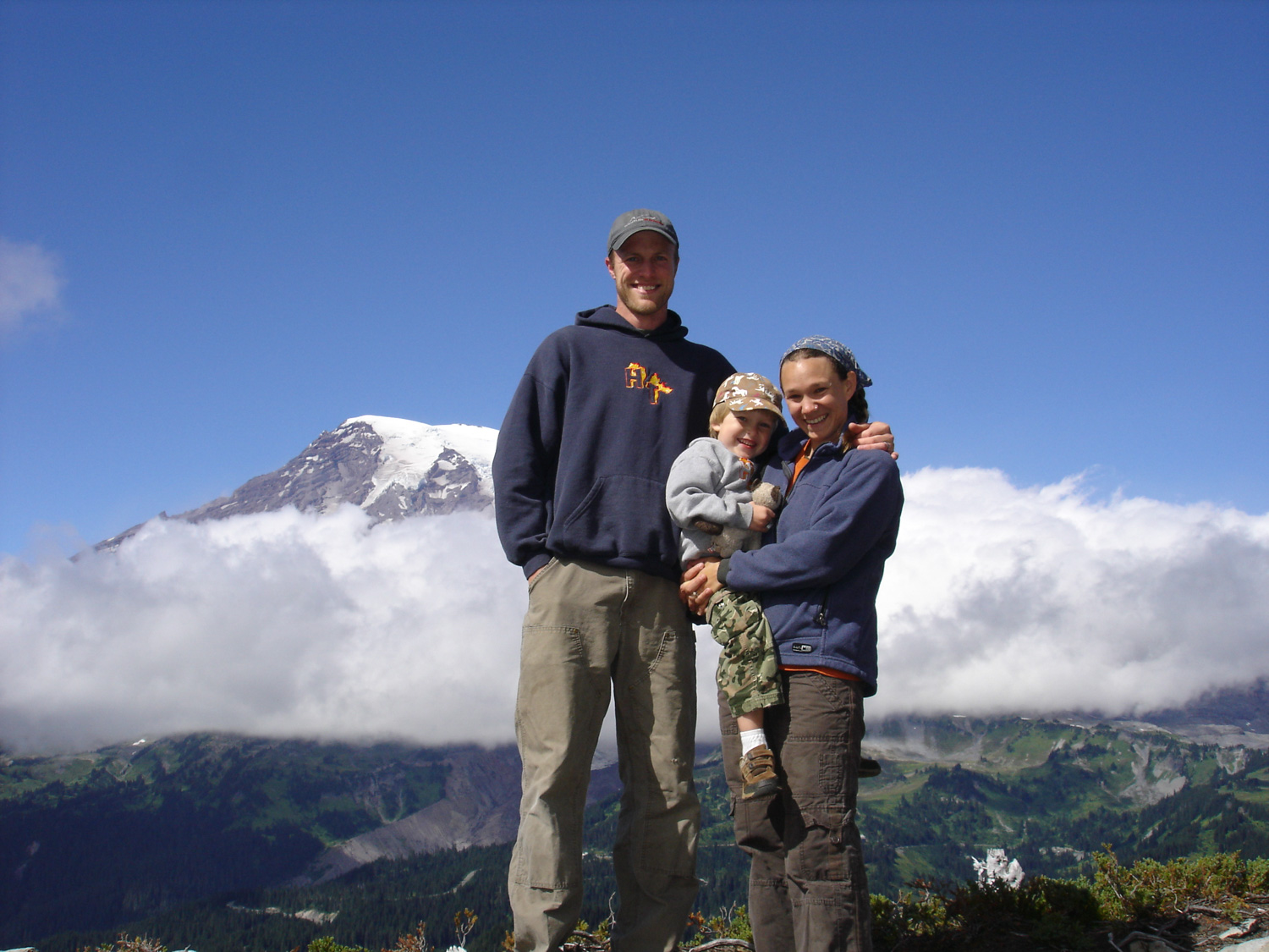 Scott atkins with his wife, Robyn, and son, Cedar, on a camping trip at Mt. Rainier National Park
