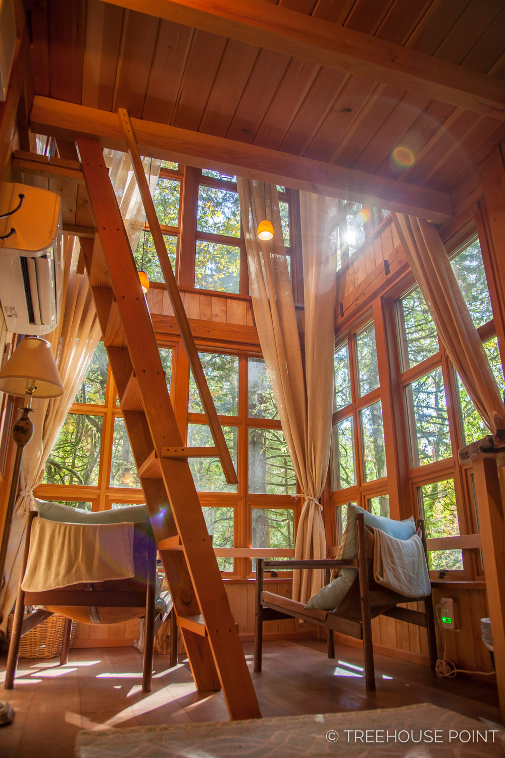 Inside the  Trillium at Treehouse Point