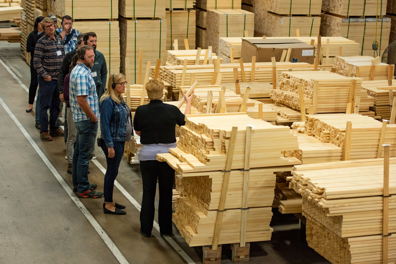 the Nelson Treehouse Crew touring the Marvin Warroad Facility. PHoto courtesy of Marvin.