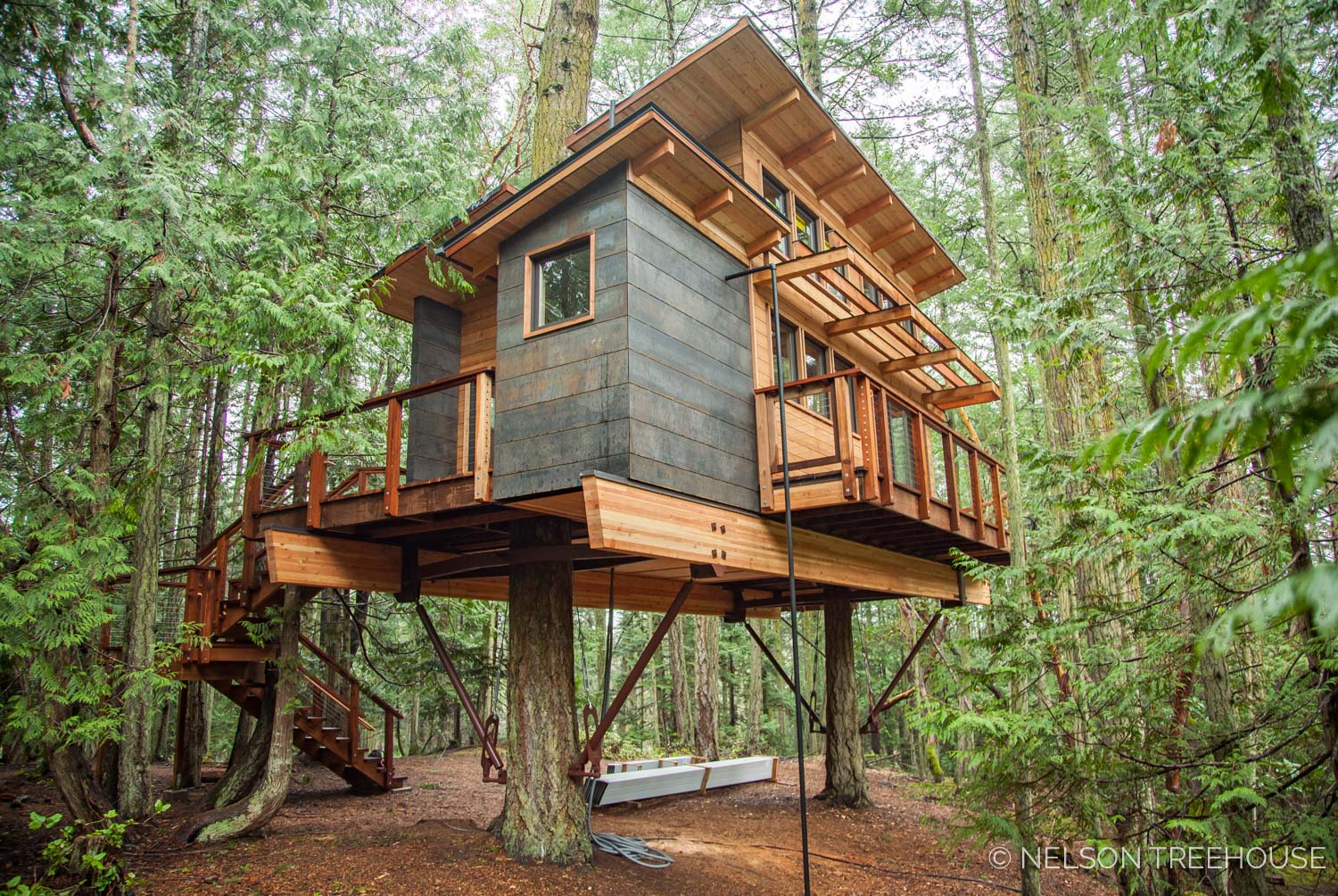 One treehouse we built this winter: our contemporary cabin on the san Juan Islands.