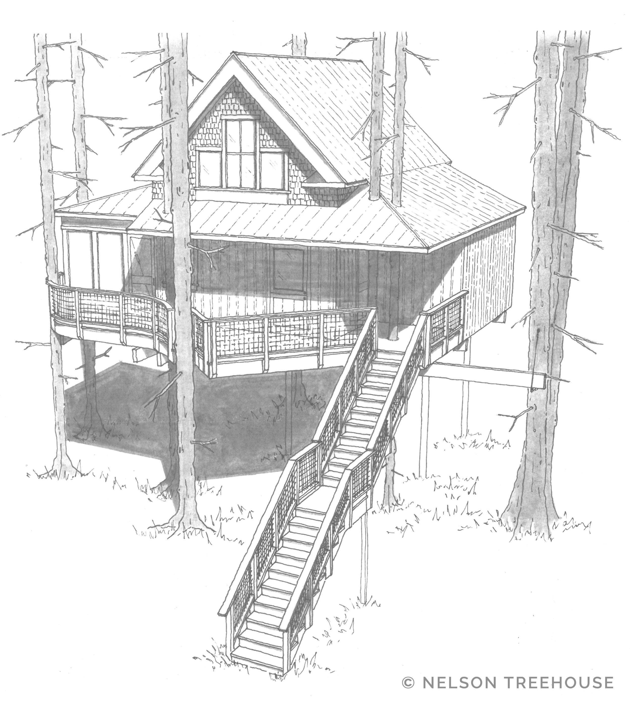 Our Design for the treehouse coming to The Woods, Maine.