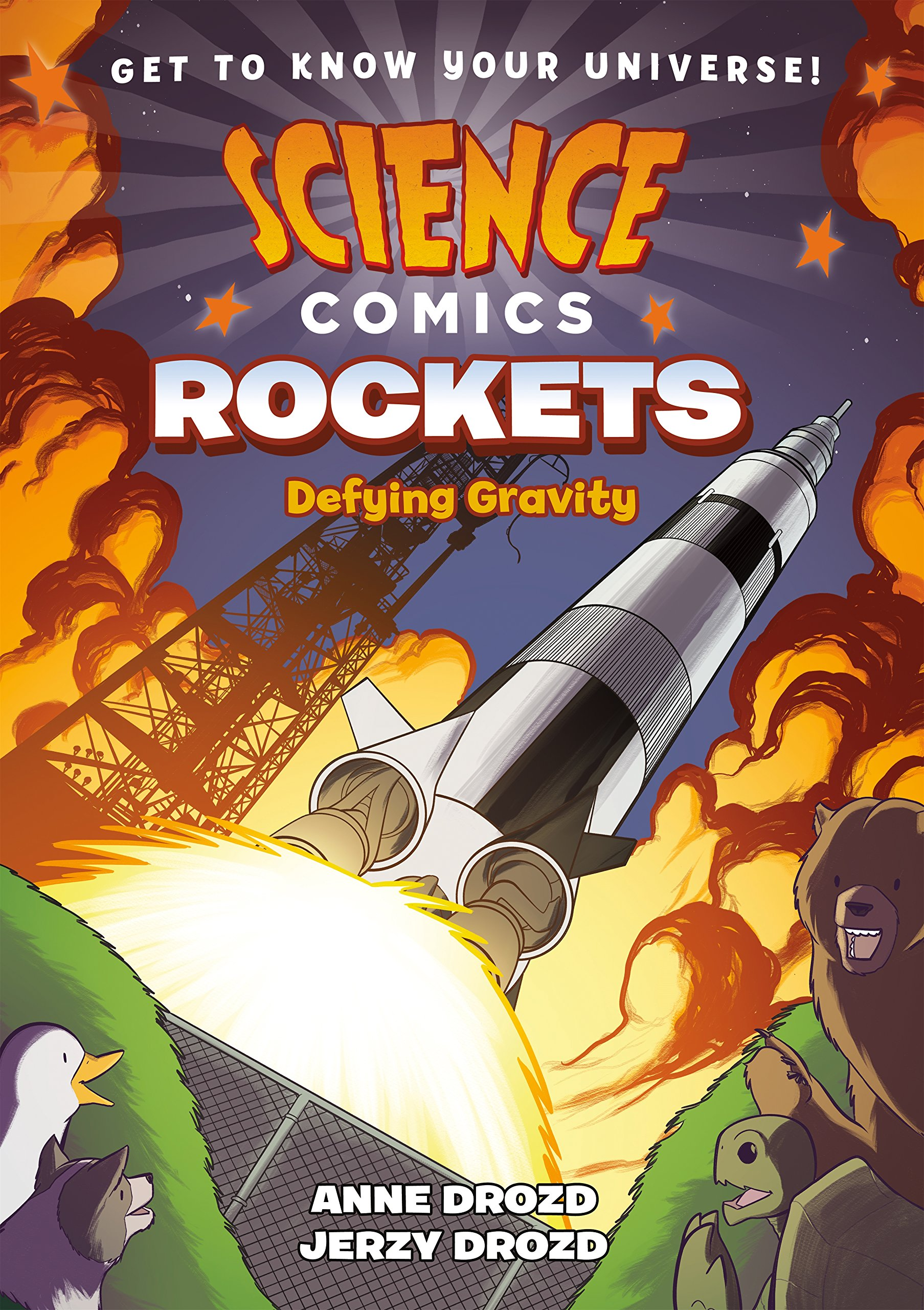 Flatting     Every volume of Science Comics  offers a complete introduction to a particular topic—dinosaurs, coral reefs, the solar system, volcanoes, bats, flying machines, and many more. These gorgeously illustrated graphic novels offer wildly entertaining views of their subjects. Whether you're a fourth grader doing a natural science unit at school or a thirty-year-old with a secret passion for airplanes, these books are for you!  This volume: In  Rockets  we explore the 2,000 years that rockets have been in existence. We dive into Newton's Laws of Motion—learning all about gravity, force, acceleration, and the history of rockets made in the past and rockets to be made in the future!
