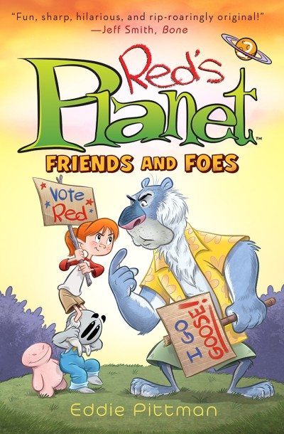 Flatting     After crash landing on a distant planet,  Red finds herself in a strange paradise surrounded by a host of odd and intriguing aliens, including her small gray companion, Tawee, and the planet's grumpy custodian, Goose. But even paradise has its problems. When survival gets a little tough, Goose and Red find themselves locked in the middle of the craziest election in the galaxy, competing for the acceptance of the castaways and determining who will lead them all. As this unlikely band of misfits comes together to create a new home for themselves, the enigmatic Uskog space pirates return, searching for a mysterious stolen treasure. Now Red and her fellow castaways must decide if their mismatched family is worth fighting for.