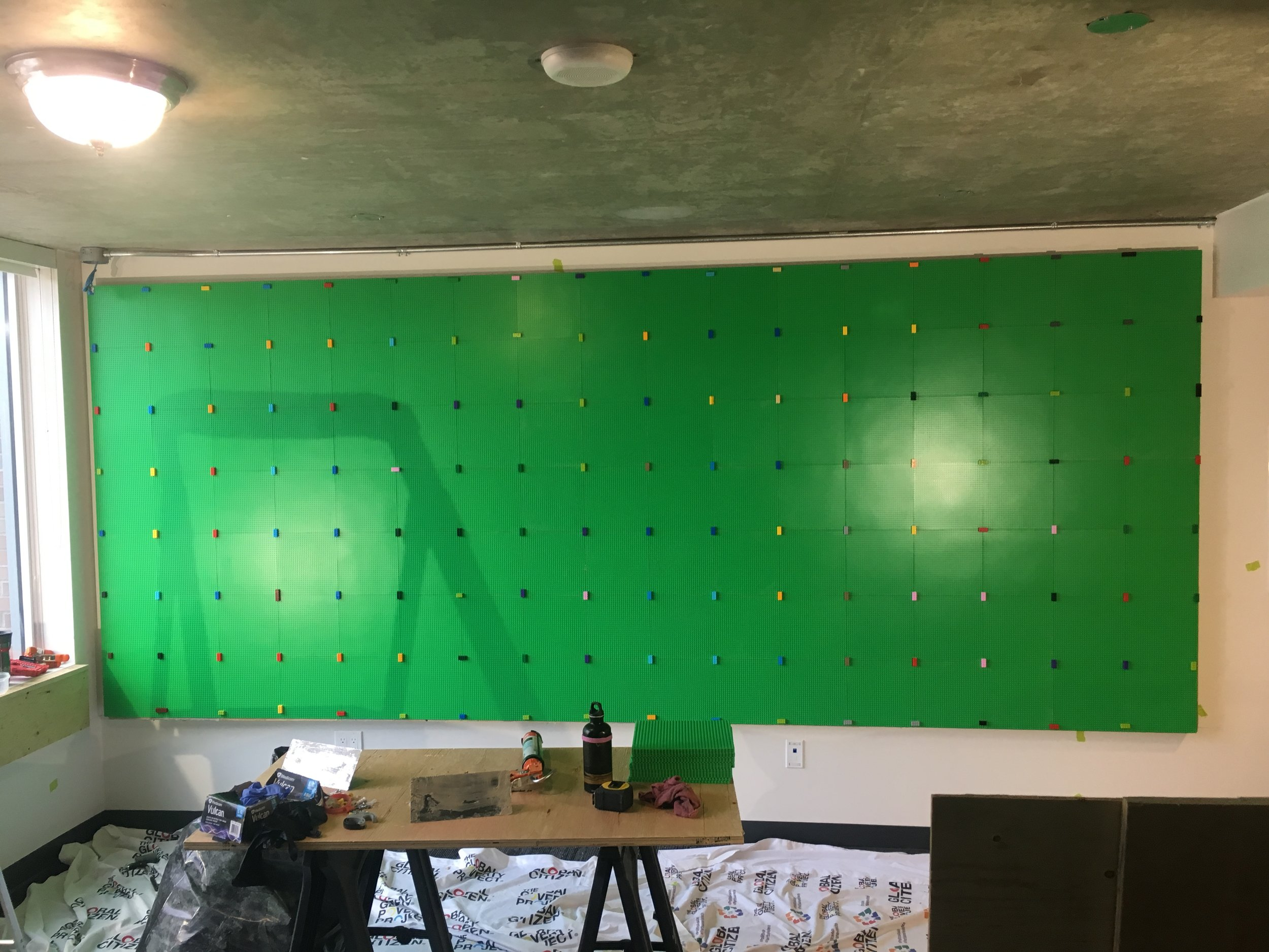 Wall completed. Each tile is held to the next with a piece of LEGO to ensure everything stays in place.