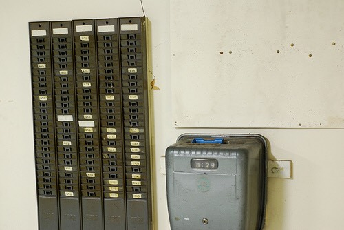 A punchcard system.