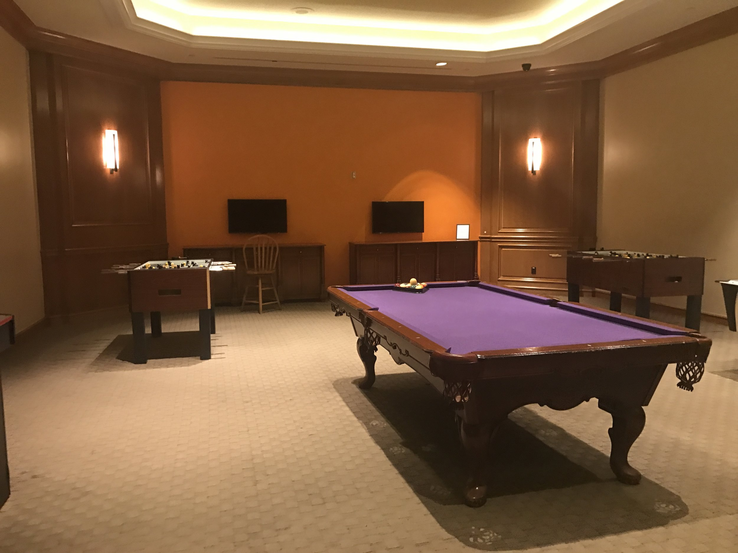 One of the two game rooms in the hotel