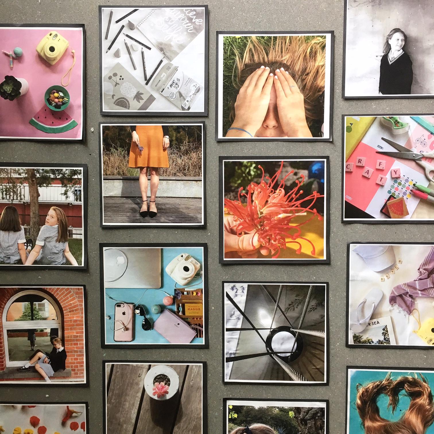 Yr 6 girls work on display in 'Wildfell'