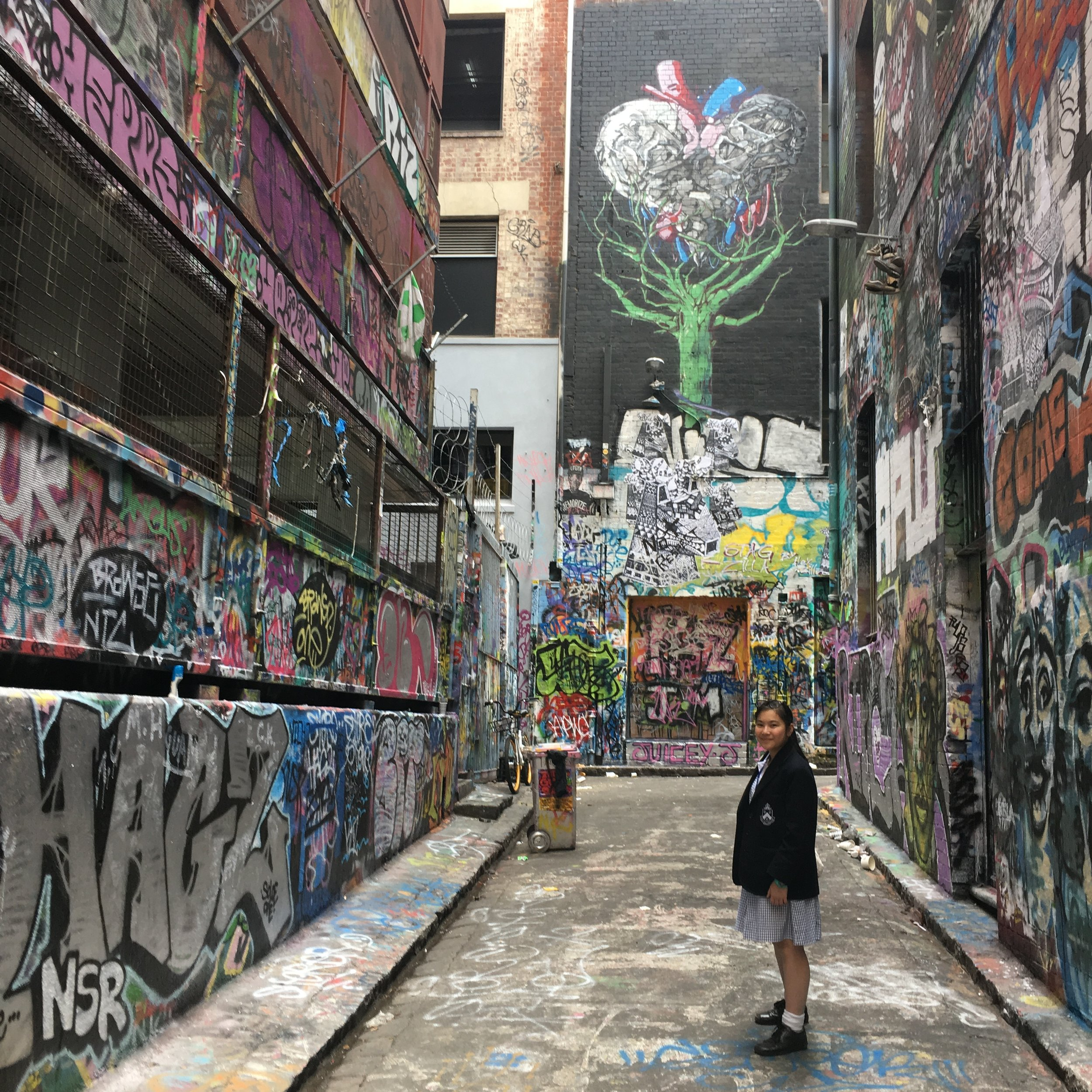 Yr 7 Exploring Melbourne's laneways for great imagery.