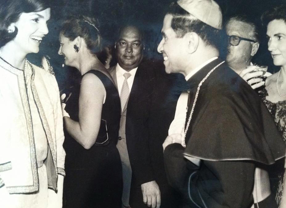 First Lady Jacqueline Kennedy meeting Archbishop Cordeiro during her trip to Karachi in 1962. Ahme Stone, a friend of the Naifehs who introduced them to the Archbishop, is at the far right.