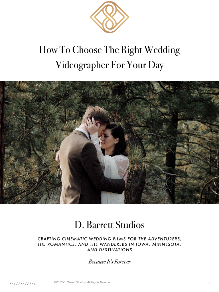 Free e-Book - Understand the 3 Styles of Wedding Videographers and discover the right fit for you and your day!