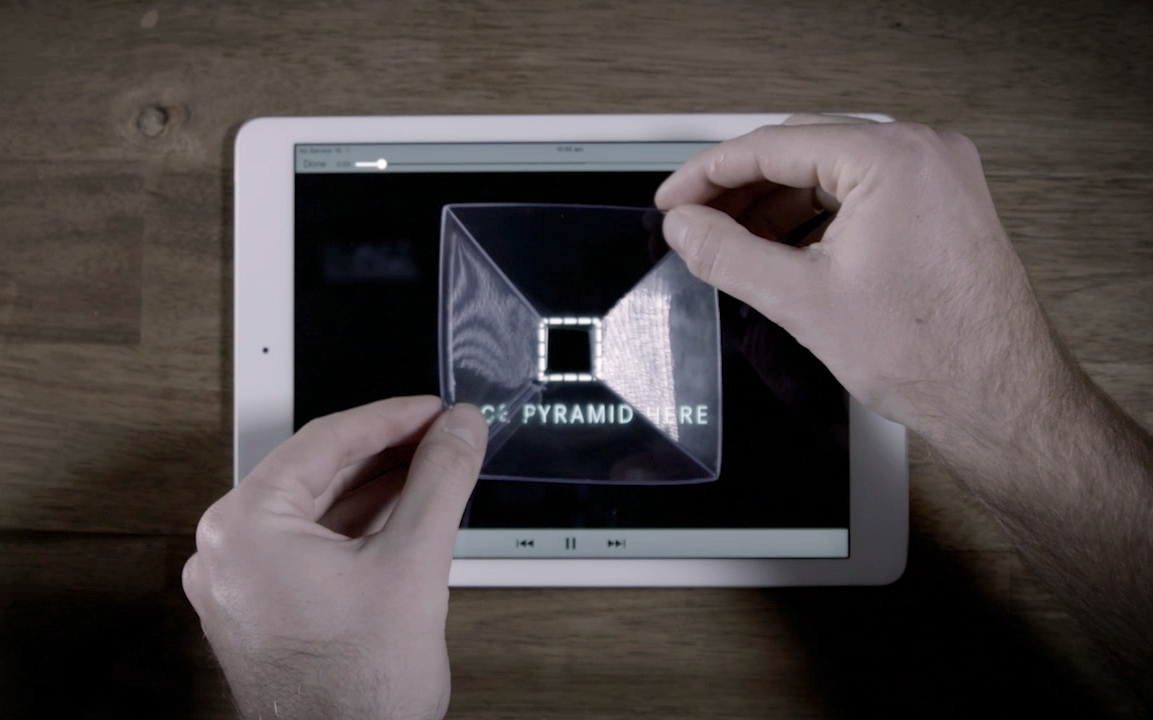 Then by visiting the microsite and placing the pyramid on their phone or tablet they were able to view a projected 3D hologram.