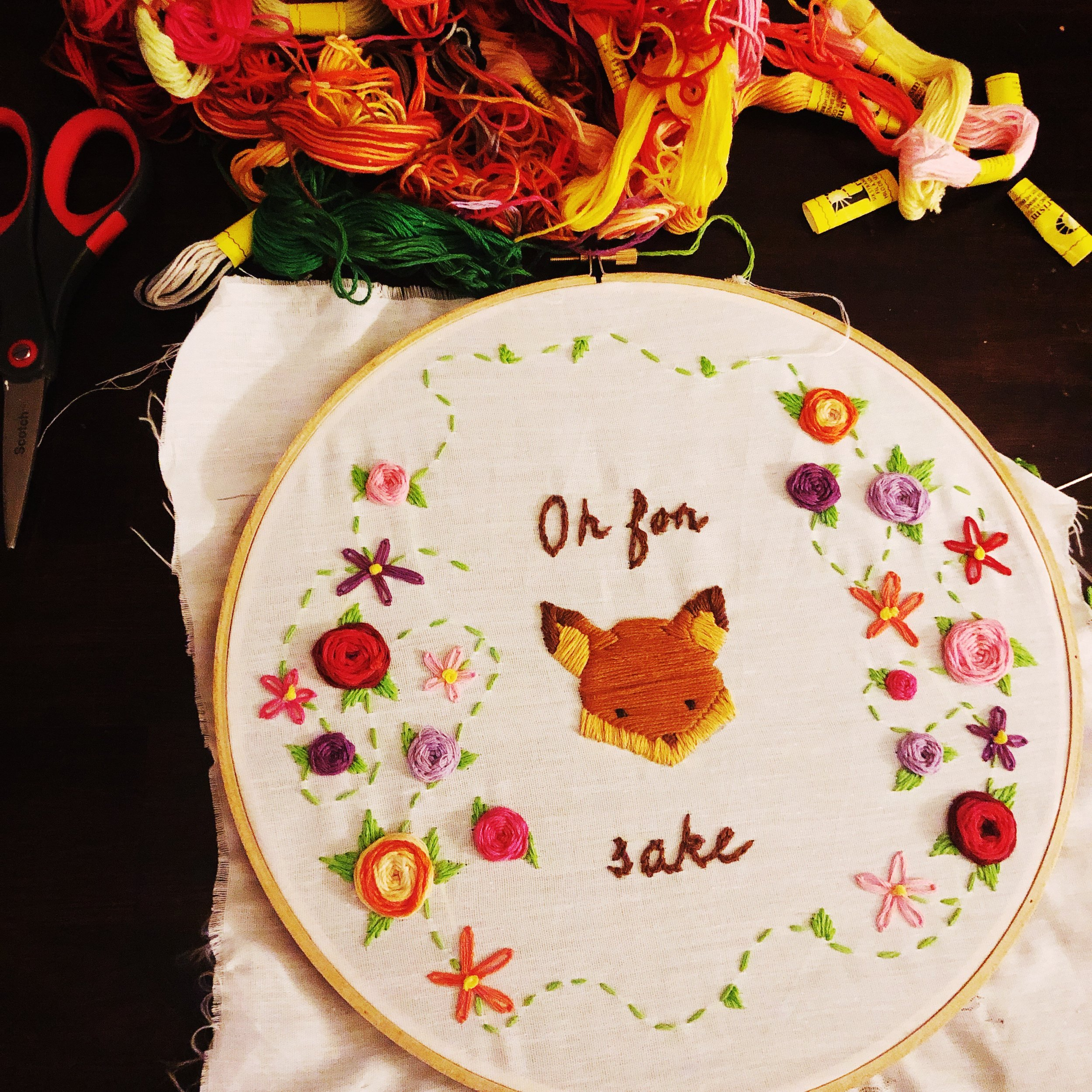 $45 - Embroidery  Learn embroidery and make a wall art piece.