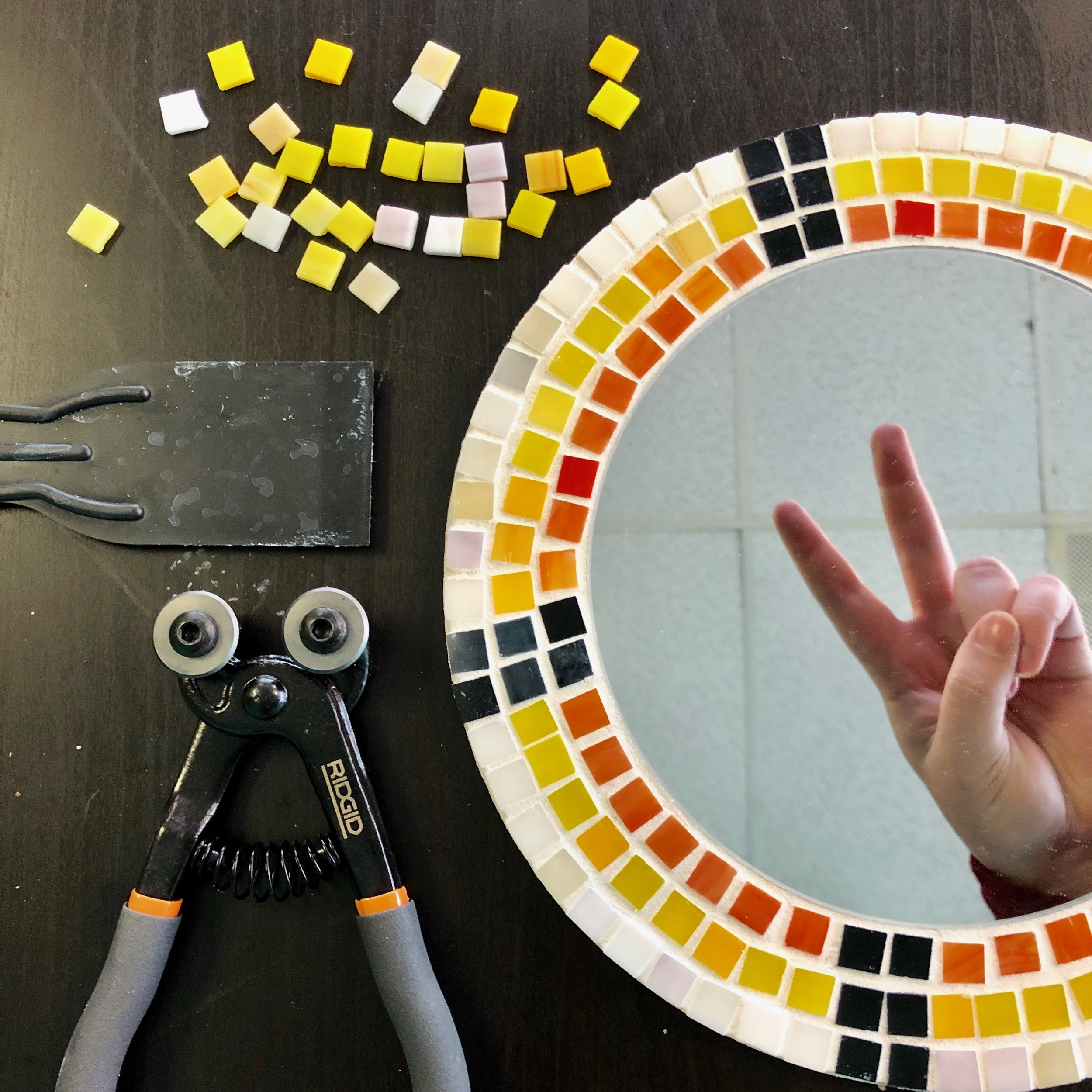 """$65 - Mosaic Mirror Workshop  Learn how to work with and cut mosaic tiles and grout and finish a 12"""" mosaic mirror."""