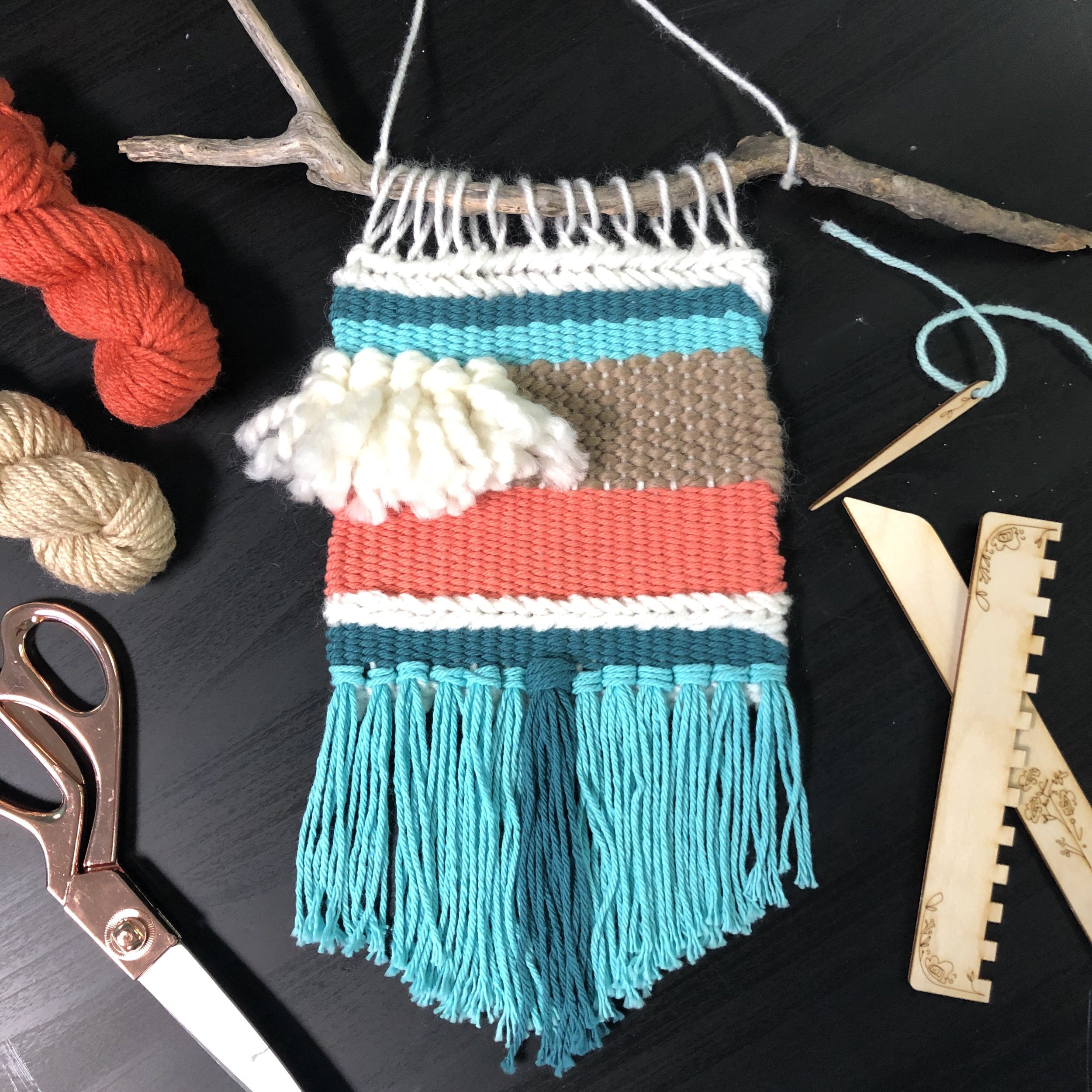 $55 - Weaving Workshop + Loom Kit  Learn to weave and make a wall hanging. + Take home a loom and tools.