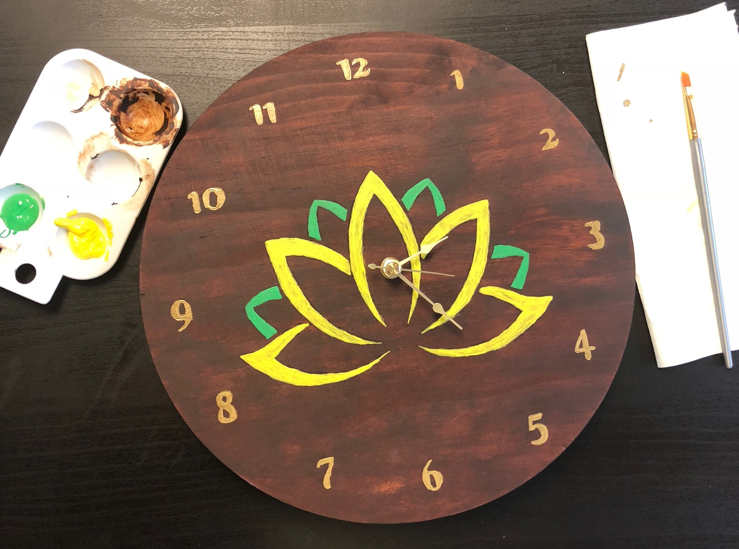 $45 - Clock Painting Party  Stain, paint, and build a custom clock. Batteries included.