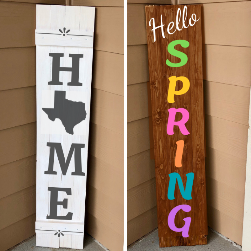 $85 - Reversible Porch Sign  Stain, paint, and build a custom 4 foot sign. Year round, holidays, and season options available.