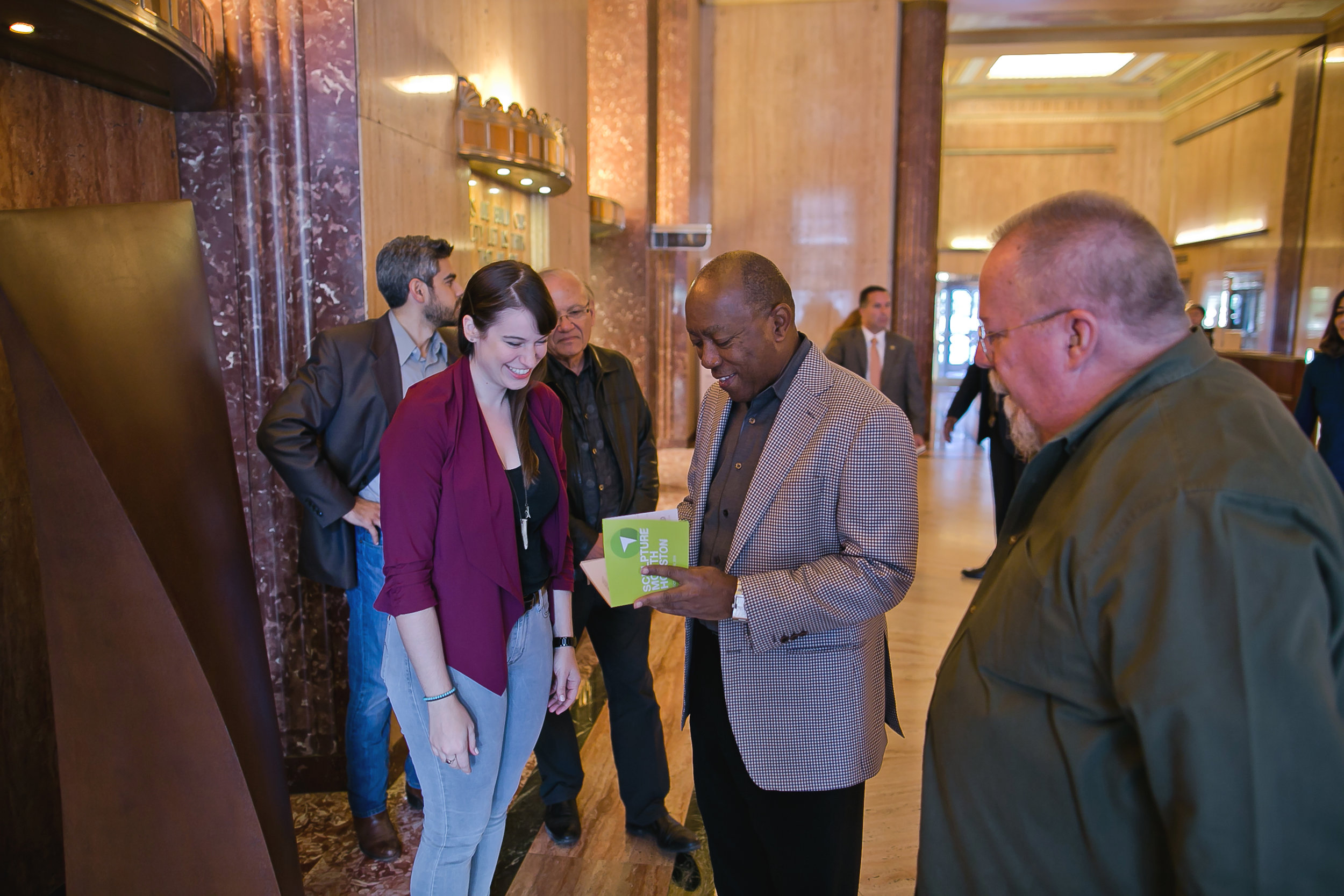 SMH Organizers and Artist, Steve Murphy, with Mayor Sylvester Turner