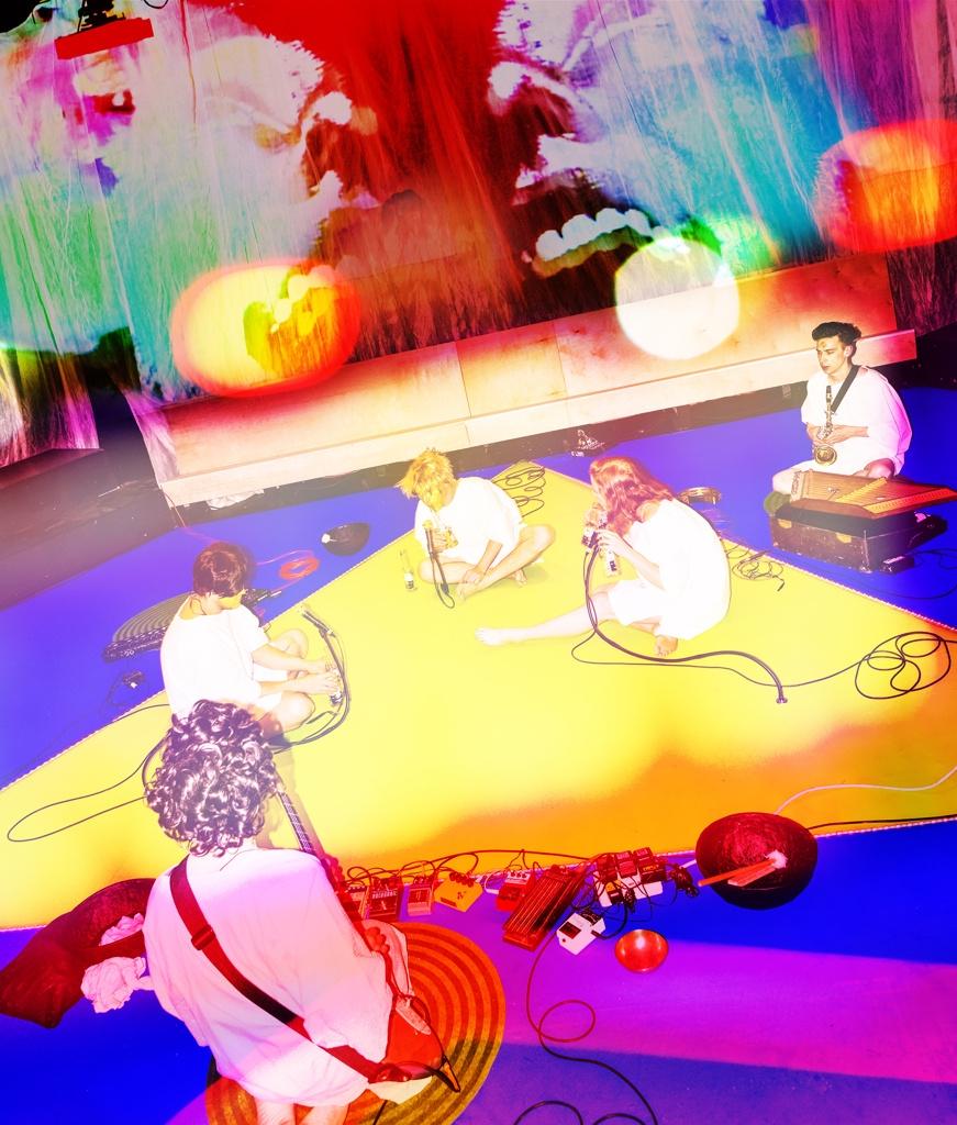 Royal Osiris Karaoke Ensemble in rehearsal. Photo by Dolly Faibyshev for The New Yorker. L-R Eben Hoffer, Tei Blow, Sean McElroy, Rigel Harris, John Gasper