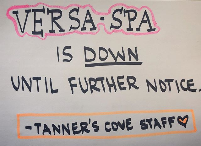 Hey fellow sun bunnies! UPDATE on the VERSA-SPA is posted below. BUT HAVE NO FEAR! We're working around the clock to have it up and running again! Check back for more updates! -Tanner's Cove Team ☀️💕😎