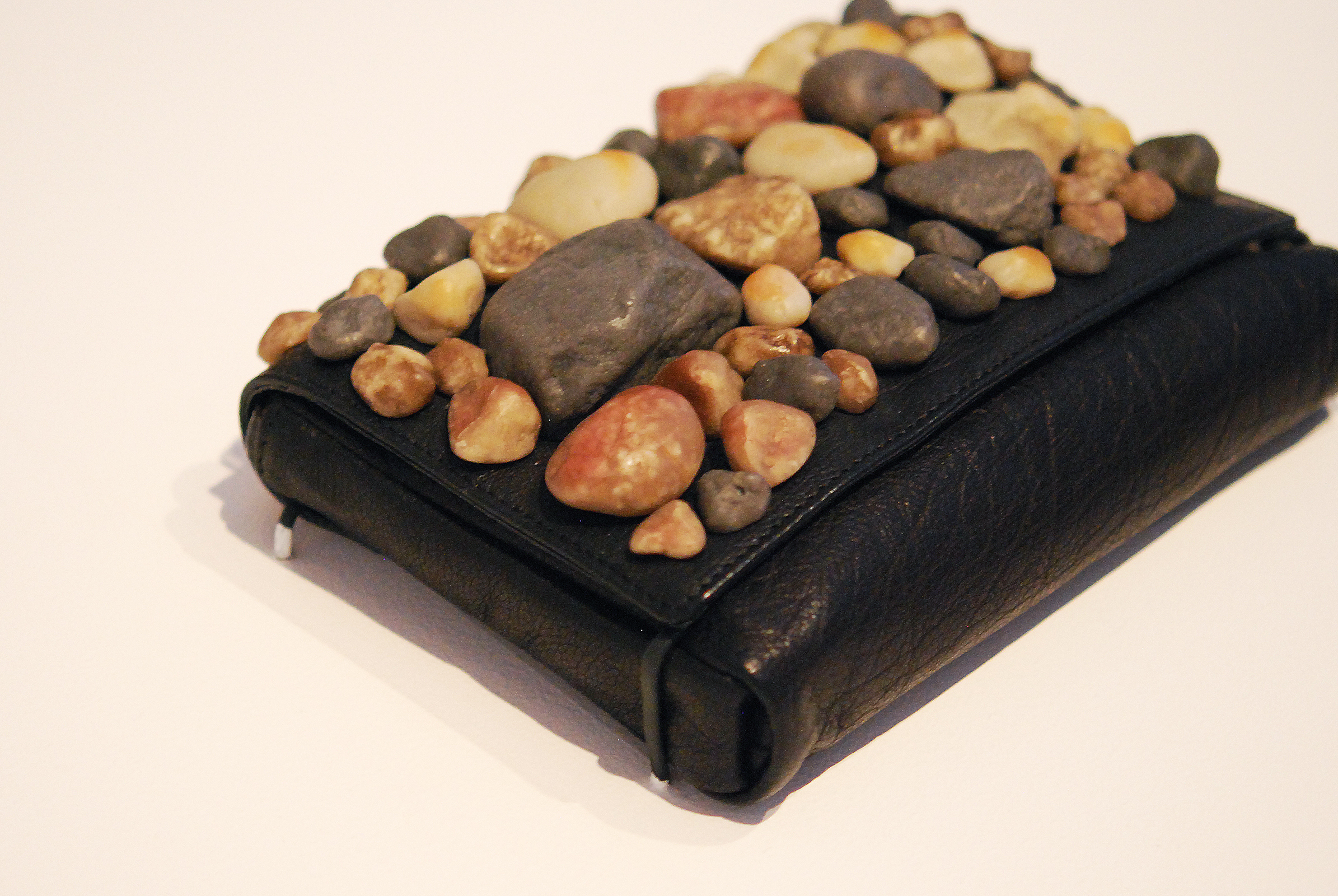 Leather clutch with resin rocks, Fall 2010