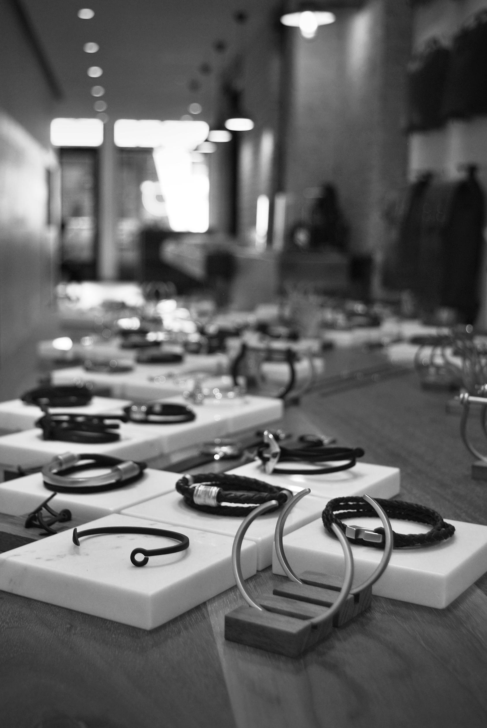 A table full of bracelets, at Miansai