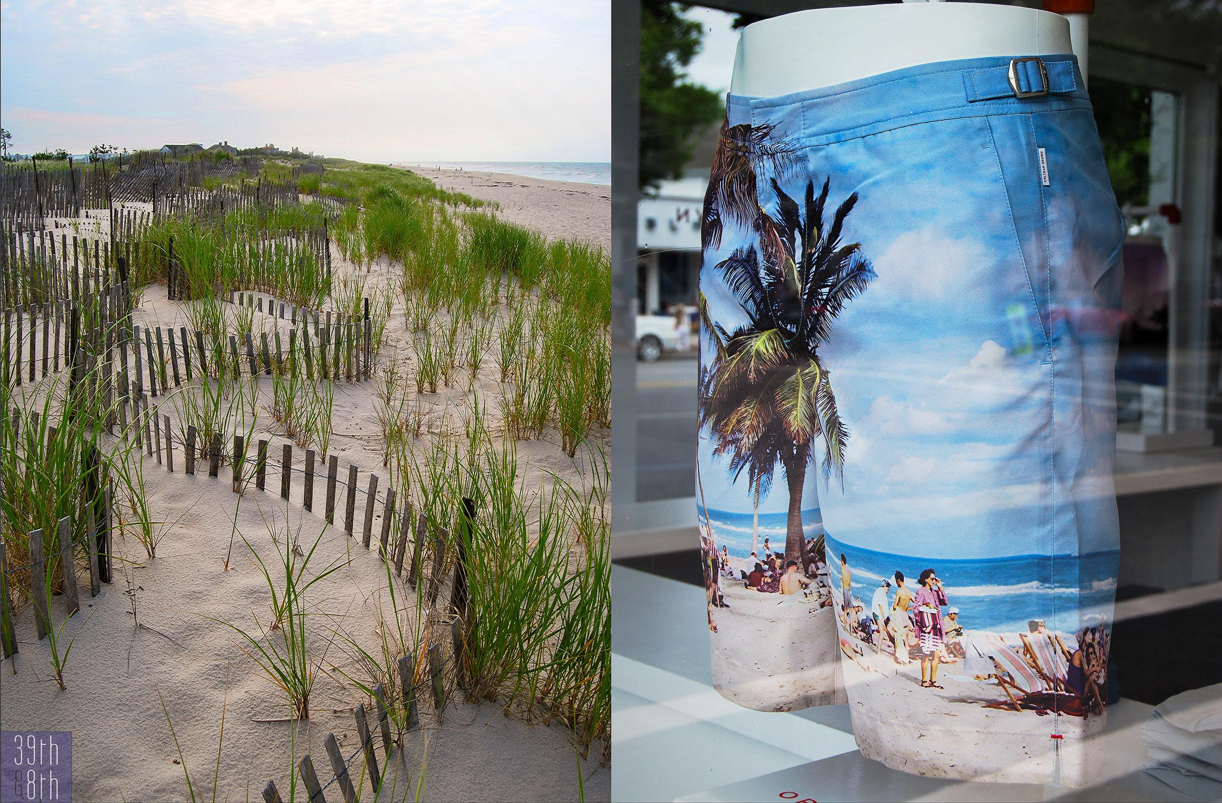 Left: Cooper's Beach, Southampton; right:  Orlebar Brown , East Hampton
