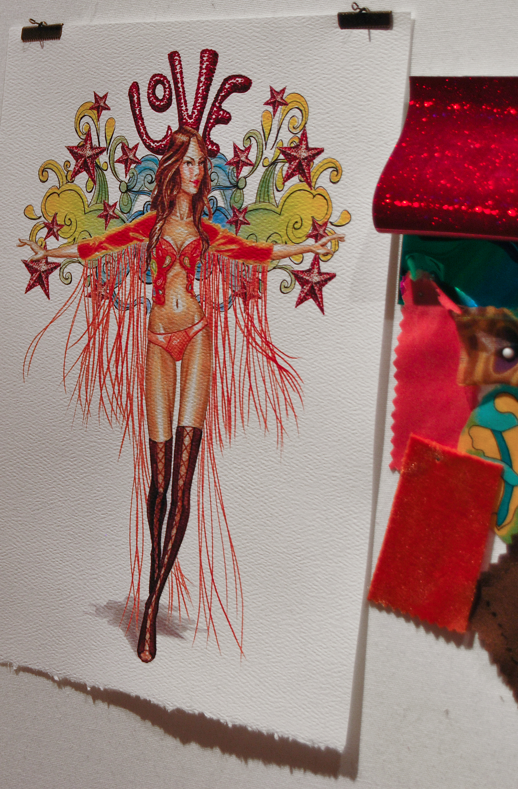 BOHO PSYCHEDELIC. Silk embroidered jacket with fringe sleeves and embellished paper sculpture wings