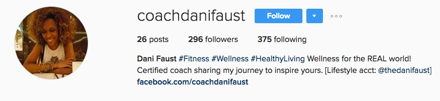 Coach Dani Faust, manages not only to tell you what she does and what she will be sharing on her page, she let's you know where else she can be found - BRILLIANT!