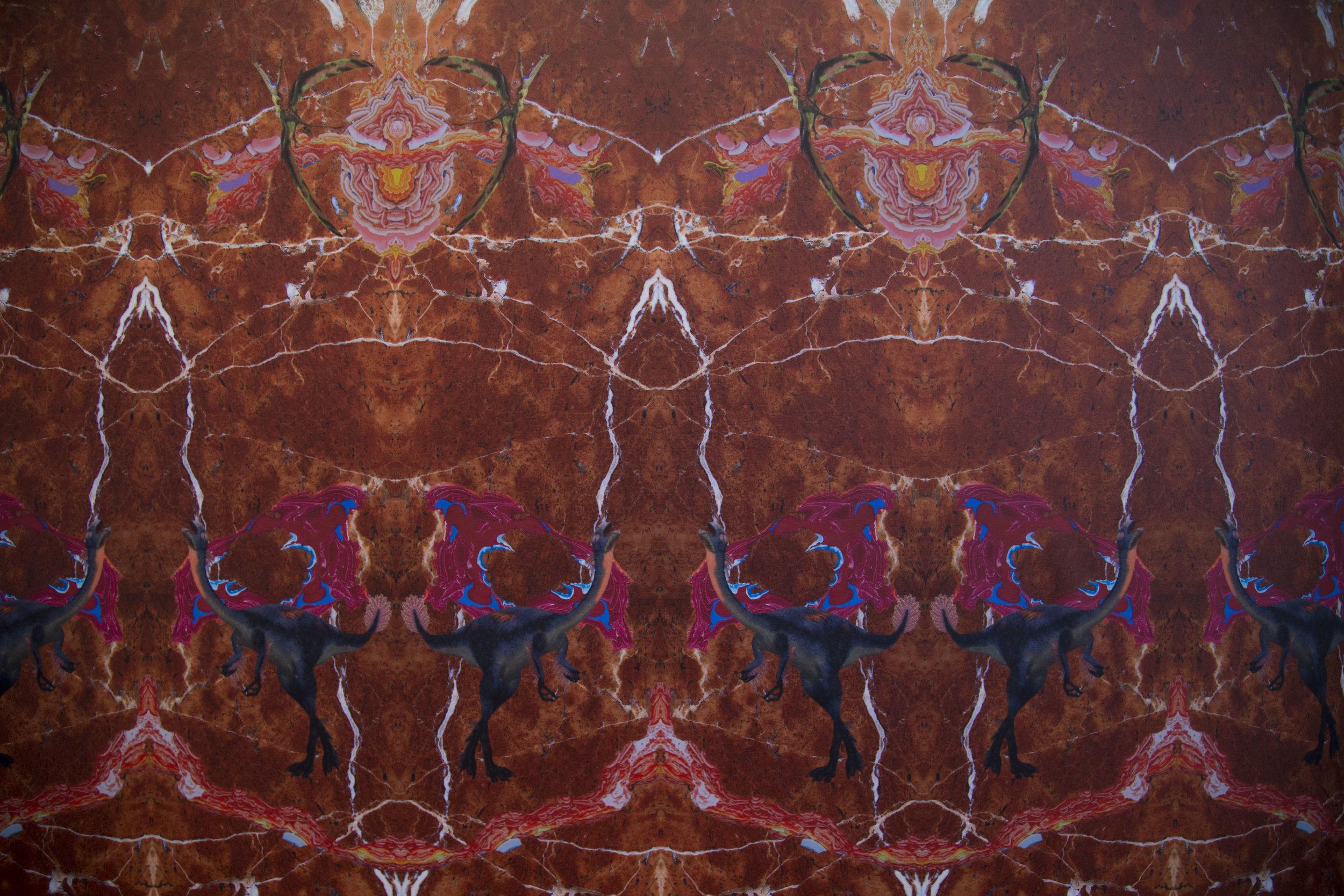 Kerstin Brätsch   Towards An Alphabet [Dino Runes] , 2018, Digital print on Photo Tex, 99 x 44 inches (dimensions customizable), Edition of 10