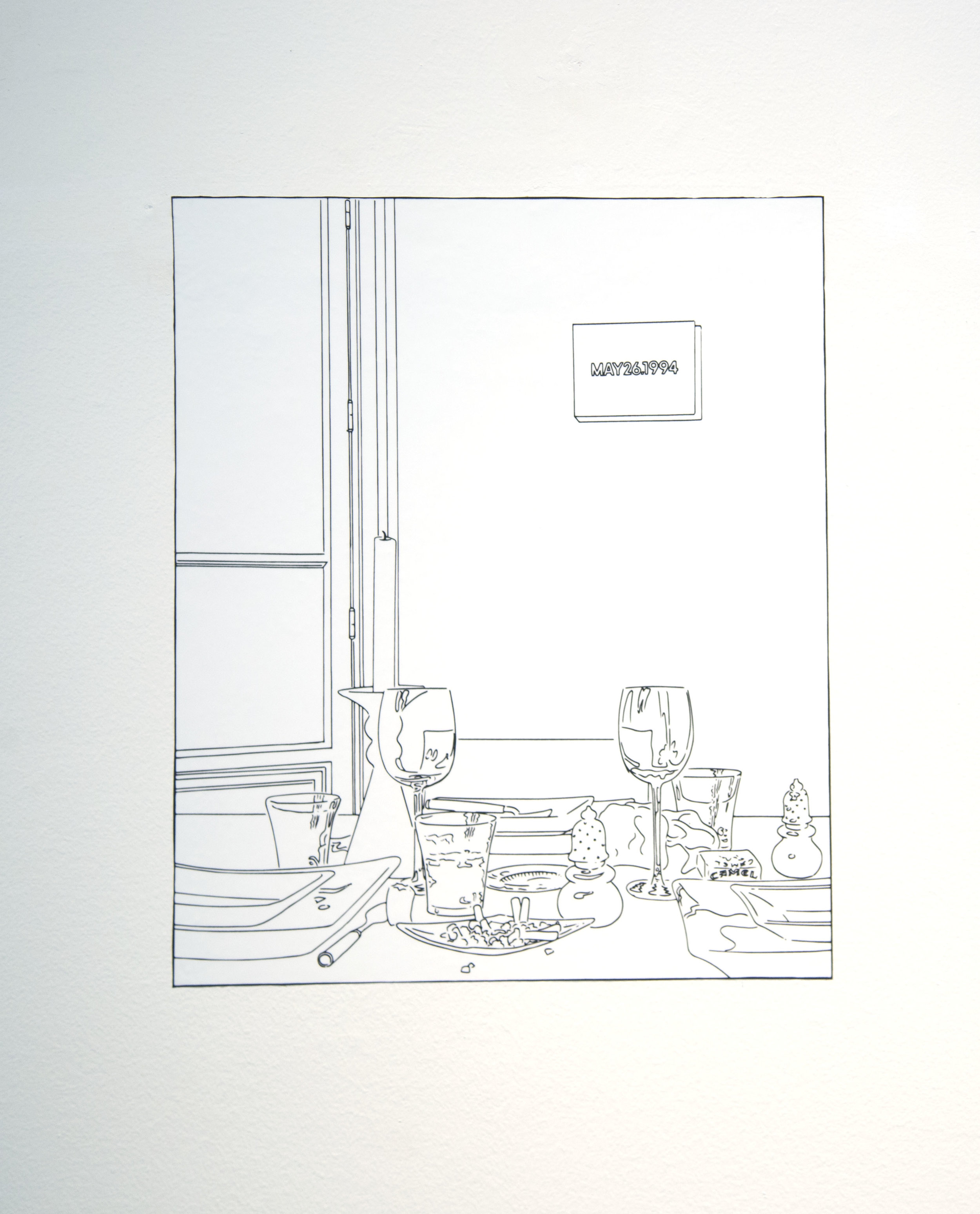 Louise Lawler   Still Life (Candle) (traced),  2003/2012, Adhesive wall material, dimensions variable (this version: 13 x 10 3/4 inches), Edition of 10, 2 APs