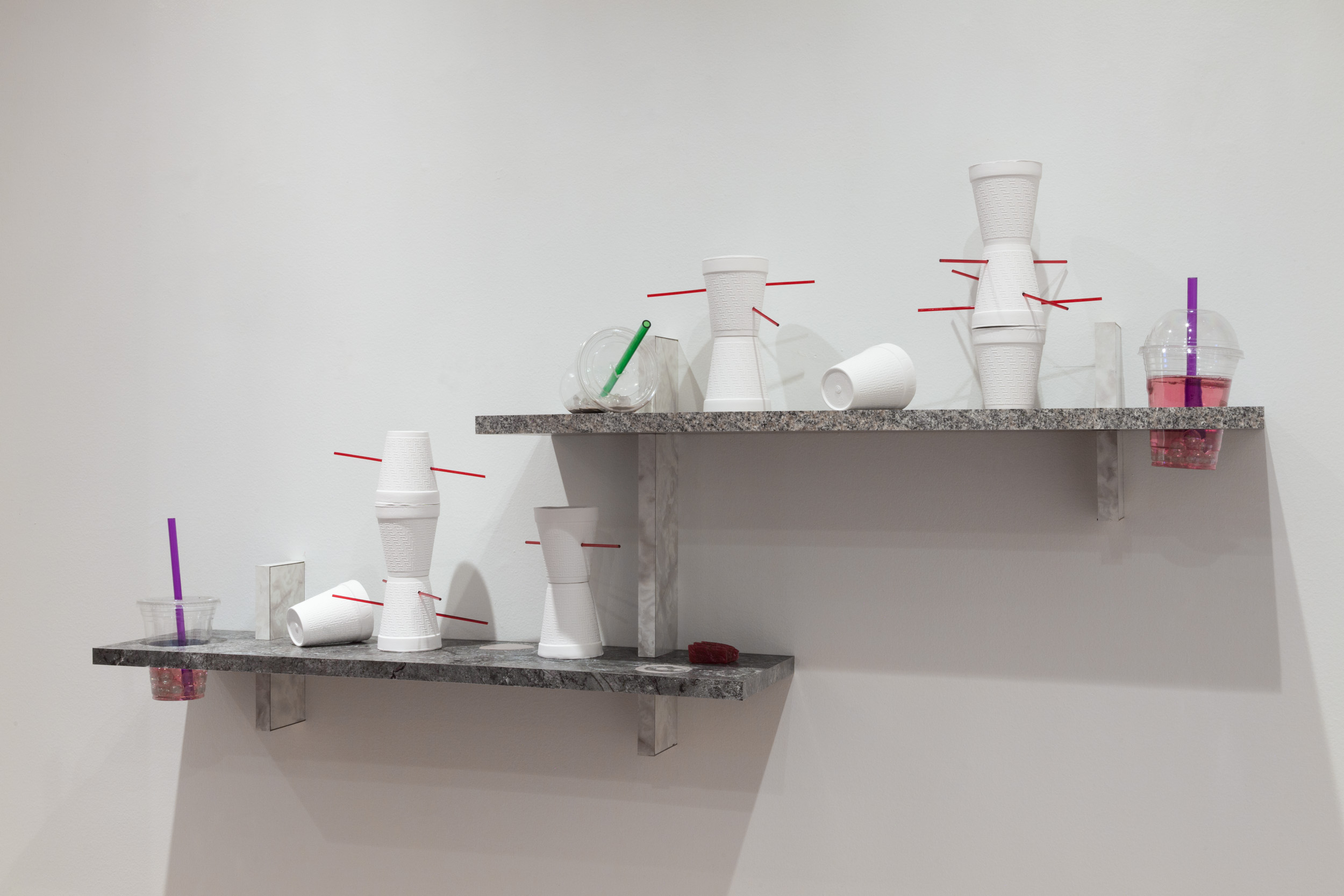 Lea Cetera   Sycophant's Lament , 2018 Formica, plywood, porcelain, acrylic, resin, plastic, glass, 53 x 8.125 x 26 inches overall