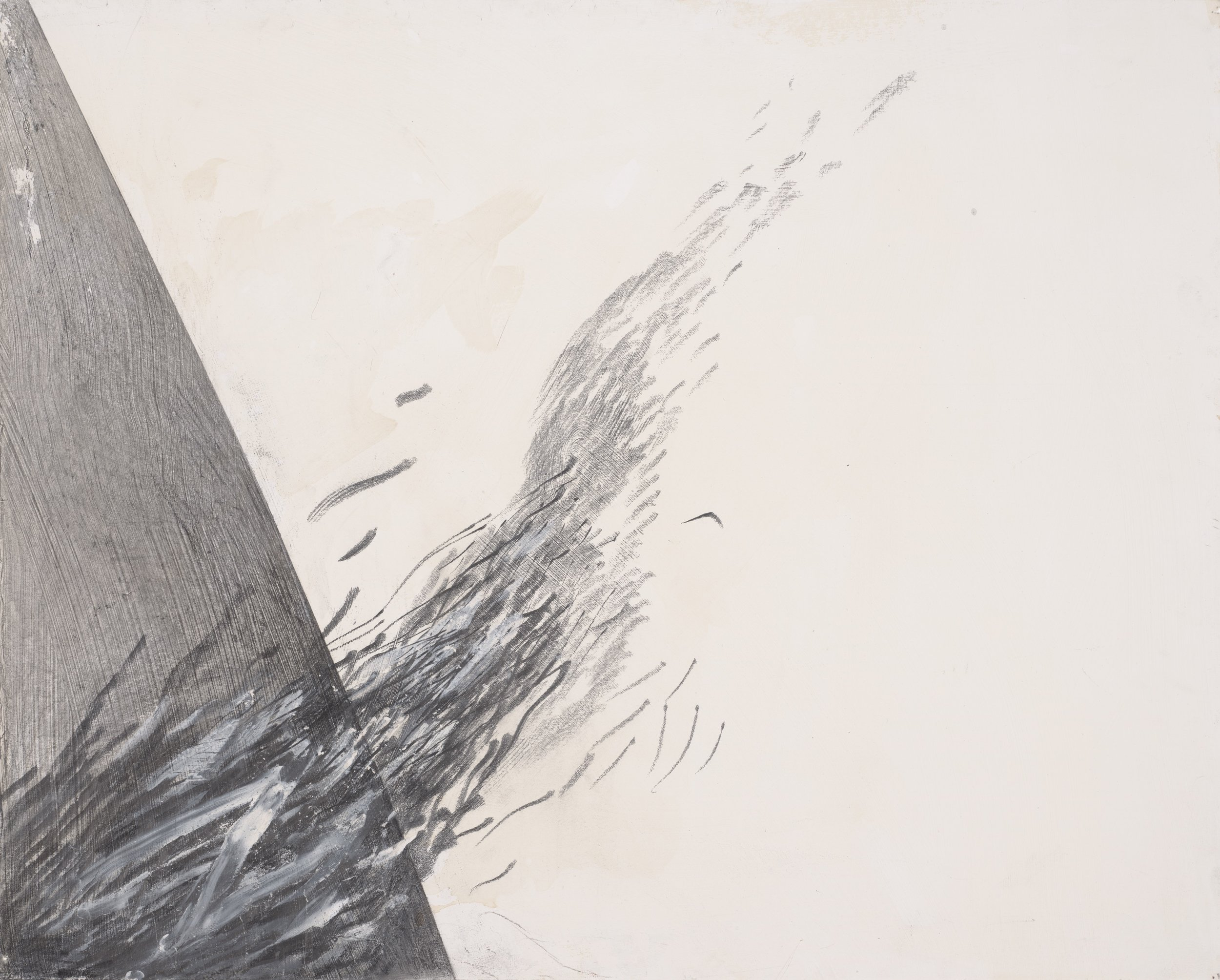 Jay DeFeo   The Tissue of Falling Columns No. 8, 1988 oil and graphite on rag board,  16 x 20 inches (40.6 x 50.8 cm), framed size: 24 x 28 x 1-1/2 inches