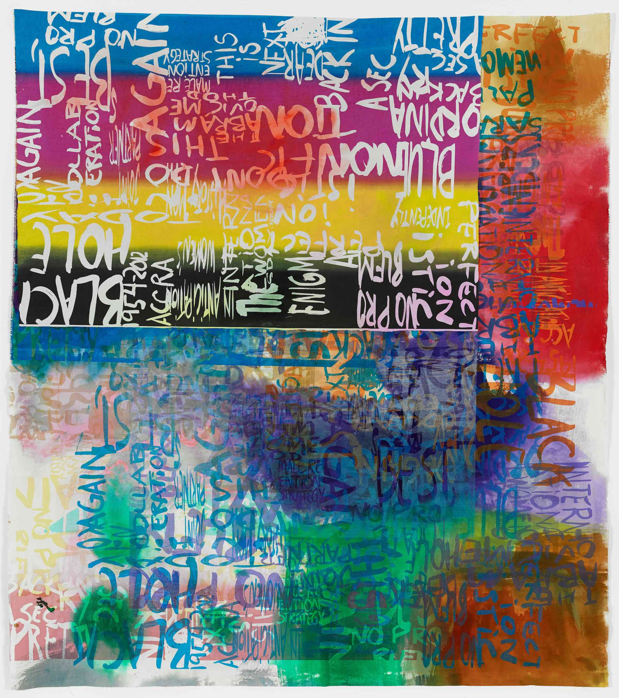 Rochelle Feinstein   Research Park Project: Ff , 2014, Hand painting and screen print on canvas, 80 x 71 inches